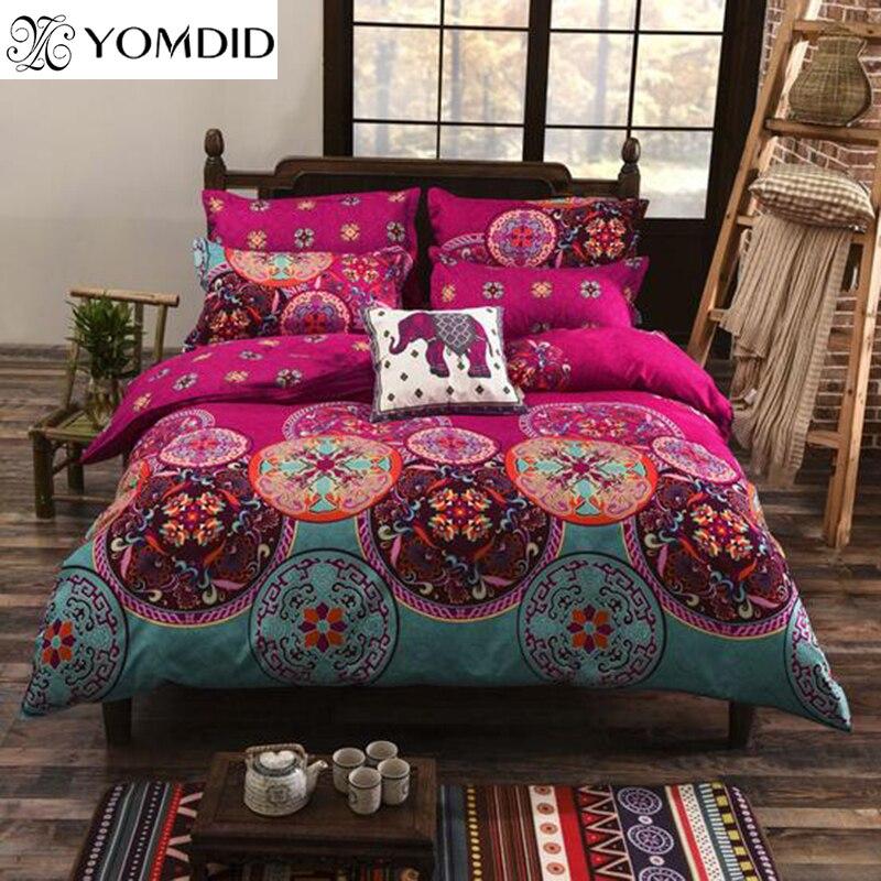 Juego de cama estilo bohemio con estampado Floral ropa de cama doble reina rey tamaño 4 piezas funda de edreunids sábana plana funda de almohada Venta caliente