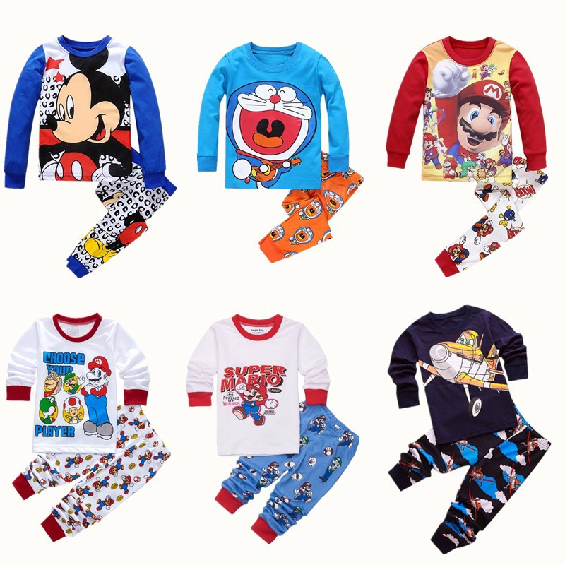 New fashion 100 Cotton Children 2pc Long Sleeve   Pajamas     Set   Girls nightwear Pijamas Boys animal pyjamas infant christmas   pajamas