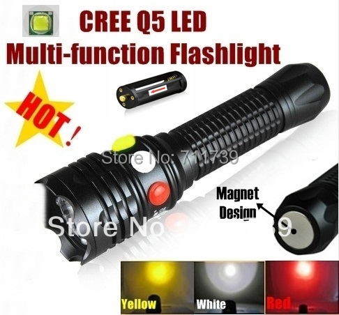 CREE Q5 LED signal light Yellow White Red Flashlight LED Torch Bright light signal lamp For 1x18650 or 3 x AAA Battery cylindrical led white light flashlight currency detection keychain silver 3 x lr44