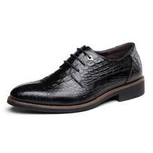 2017 All Season Hot font b Men b font Crocodile Grain Genuine Leather font b Shoes