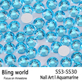SS3-SS30 Aquamarine Nail Art Rhinestones With Round Flatback For Nails Art Cell Phone And Wedding Decorations