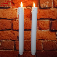 2Pcs 2AA Battery Operated LED Taper Candle Indoor & Outdoor Use 9 Inches Height Moving Flame Wick Window Candle White Color