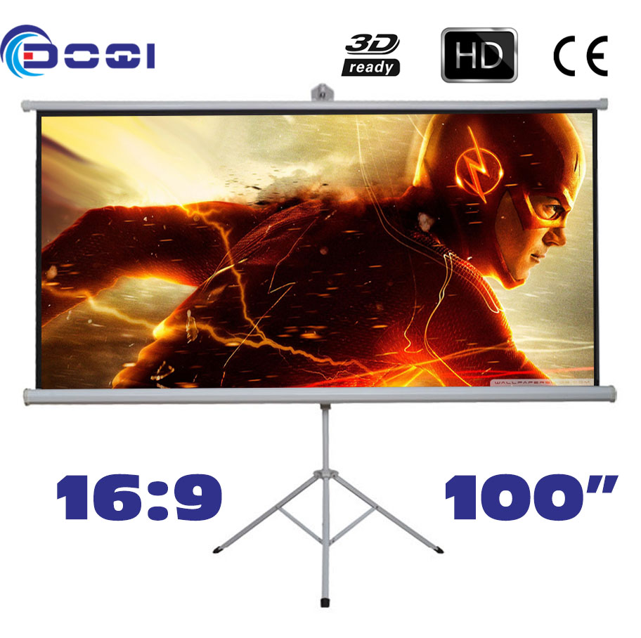 Portable 100 inches 16:9 Tripod Projection Screen HD Floor stand Bracket Projector Screens Matt White Factory Supply portable 100 inches 16 9 tripod projection screen hd floor stand bracket projector screens matt white factory supply