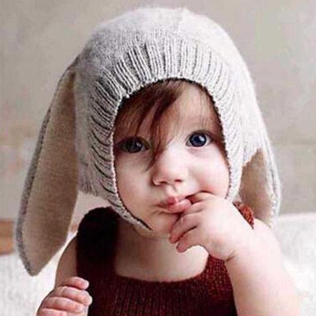 Winter Baby Warm Knitted Hats Kids Girls Boys Woolen Cute Hood Scarf Toddler  Earflap Cloak with Rabbit Ears cb0c30a3cde