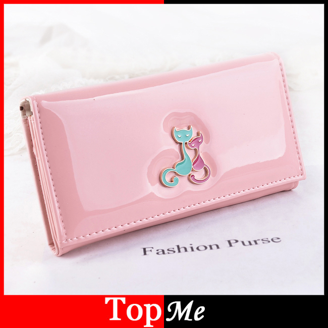 Women Wallets 6 Colors Good Quality Patent PU Leather Cute Cats Lady Handbags Woman Clutch Coin Purse Cards Holder Wallet Bags 2017 new women wallets cute cartoon bear lady purse pu leather clutch wallet card holder fashion handbags drop shipping j442