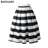 BAIFOX 2017 Autumn New Women Black And White Plus Size Skirt Block Stripe Geometric Print Pleated