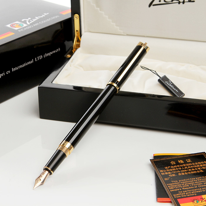 Picasso fountain pen 82 series 10k fountain pens pimio fountain pens black blue  FREE shipping italic nib art fountain pen arabic calligraphy black pen line width 1 1mm to 3 0mm