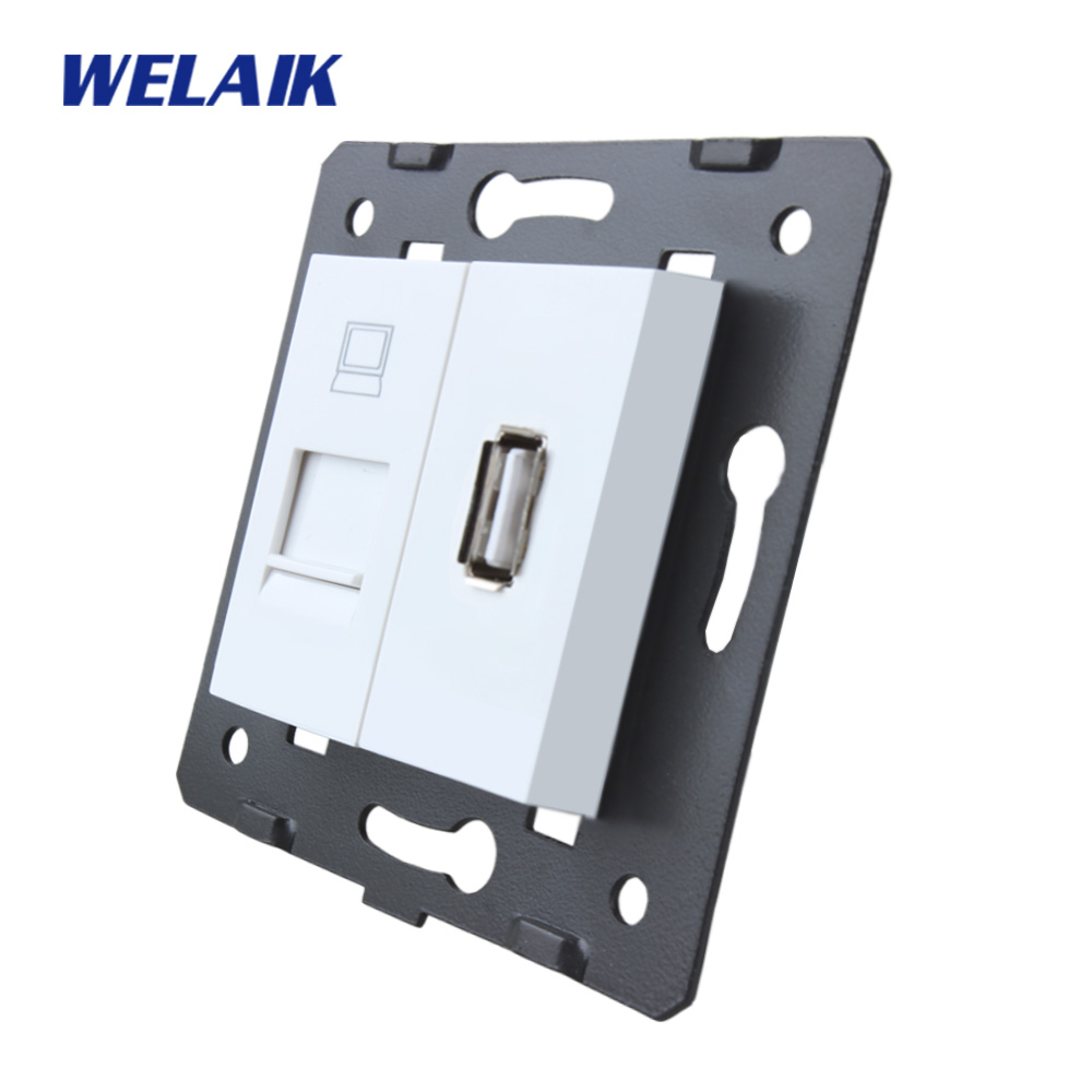 WELAIK EU Standard Computer and USB Socket DIY Parts White Wall Computer and USB Socket parts Without Glass Panel A8COUSW diy parts rca socket connectors white silver 10 piece pack