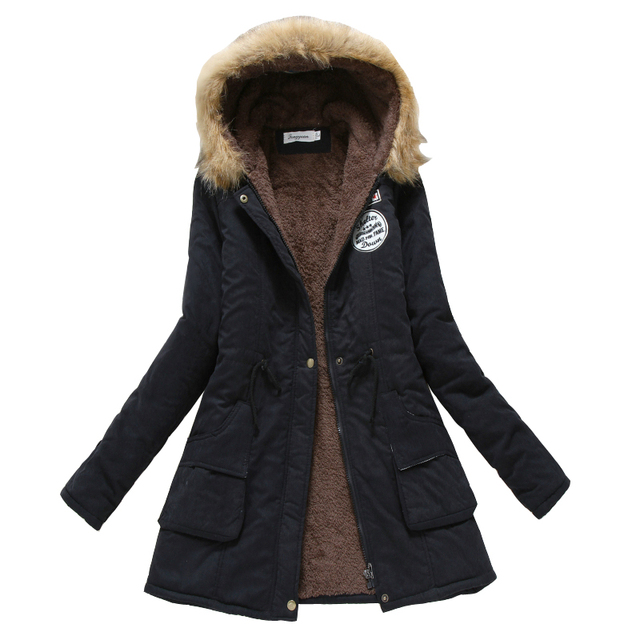 冬コート女性2017新しいパーカーカジュアル生き抜くミリタリーフード付き肥厚綿コート冬のジャケット毛皮のコート女性ClothesCC001