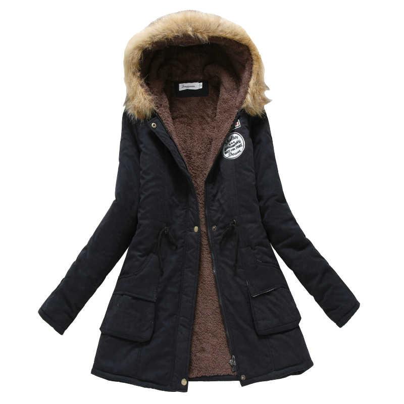חורף מעיל נשים 2019 מעיל החדש מקרית להאריך ימים יותר צבאי סלעית עיבוי כותנה מעיל חורף מעיל נשים פרווה בגדי CC001