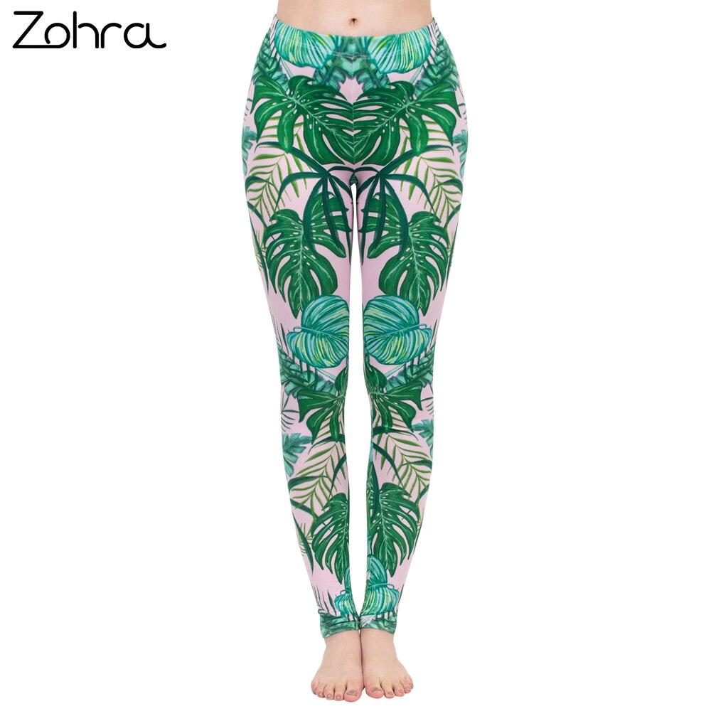 Zohra Fashion Women   Legging   Pink Tropics Printing With Multicolor Pattern Leggins High Elasticity Legins Fitness Pants   Leggings