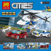 LELE Toys City Police High Speed Chase Amazing Game Educational Toys Building Blocks Helicopter Chirstmas Gift For Children
