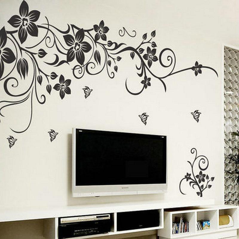 tienda online clsica flores vine tatuajes de pared de fondo decoracin para el hogar zooyoo vinilo removible pegatinas de pared wall art mural sticker with