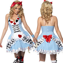 Alice in wonderland disfraces de halloween sexy ladies dress anime maid cosplay mujeres poker fancy dress alice in wonderland traje