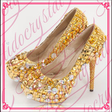 Aidocrystal New gold elegant ladies fashion women high heel shoes good Quality hot sell free shipping