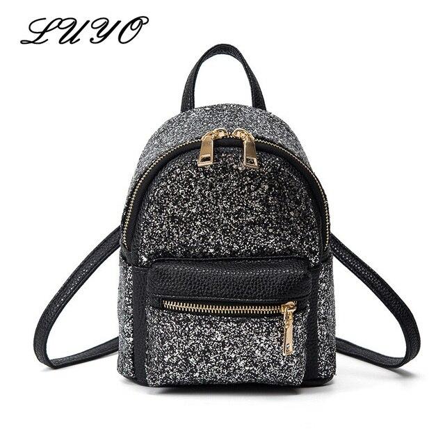 Summer PU Leather Fashion Shining Silver Ladies Women Sequin Bag Kids  Teenager Girls Small Mini Backpack 2ea5644ae66cc