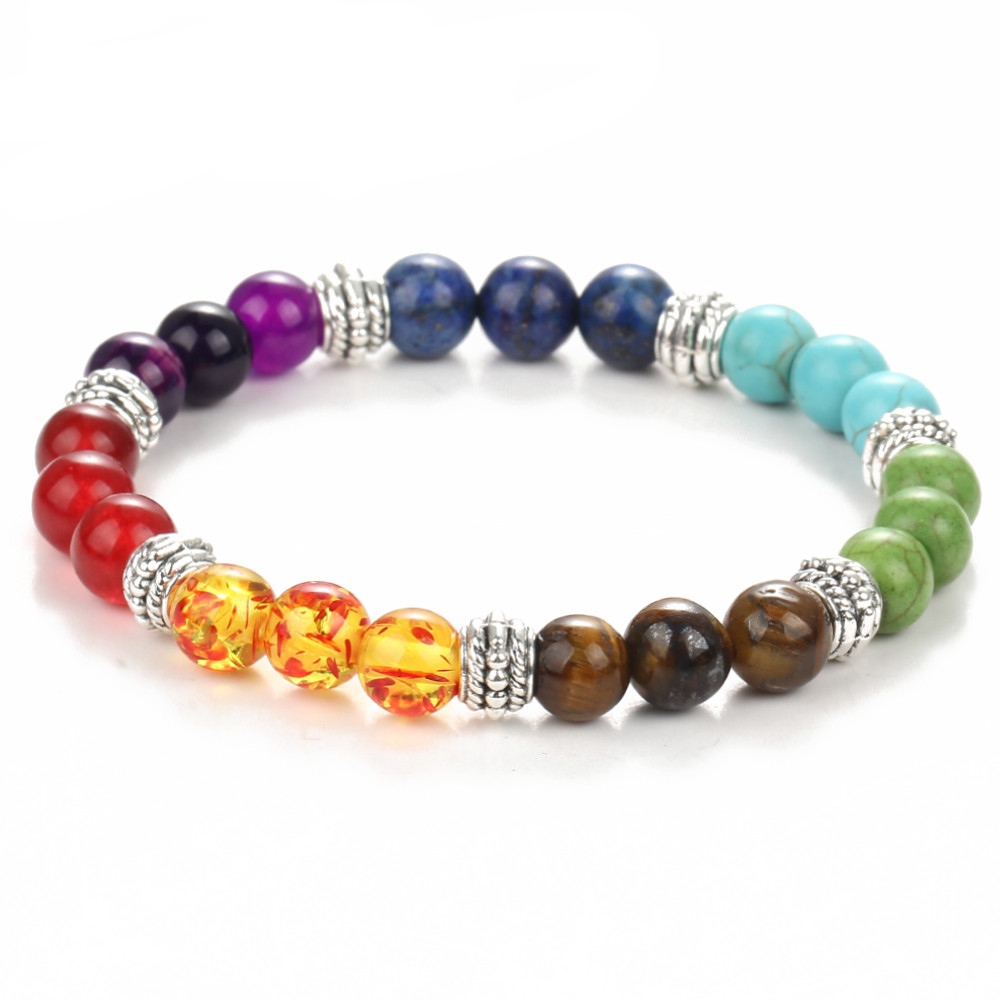 YIMLOI Trendy7 Chakra Bracelet Men Black Lava Healing Balance Beads Reiki Buddha Prayer Natural Stone Yoga Bracelet for Women