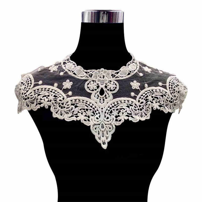High Quality White Embroidered Lace Collar Neckline Venise Applique Embroidery Sewing on Patches Sewing Fabric Accessories