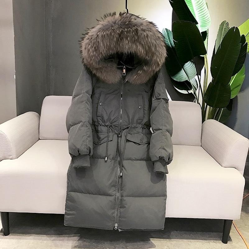 2018 women's duck   down     coat   ladies puffer jacket manteau femme winter clothing large real raccoon fur hood black grey plus size