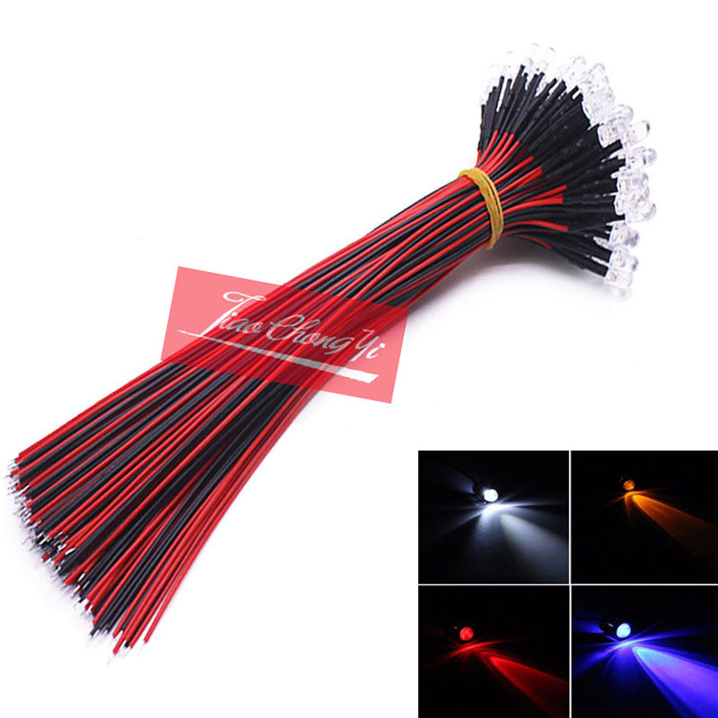 Red/blue/green/white/yellow Color PreWired 12V F5mm Car Boat LED 10-100PCS Lot Pre Wired DC 9-12V  5MM  Water Clear LED Diod