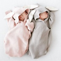 Autumn New Romper Bunny Ears Knitted Baby Sleeping Bag Is Stereo Newborn Baby Clothes Baby Romper