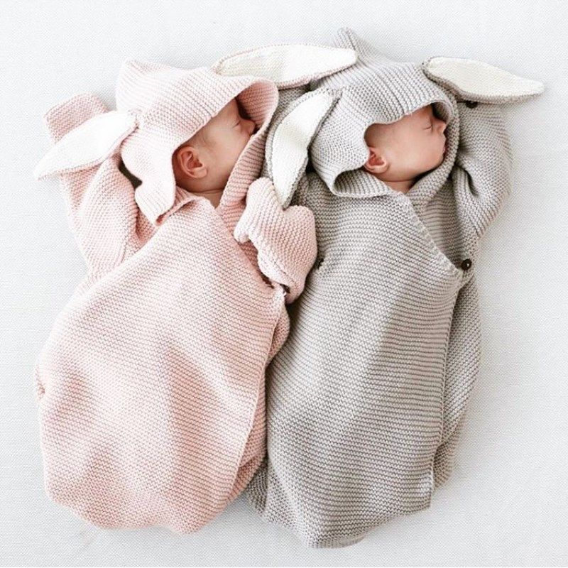 Autumn New Romper Bunny Ears Knitted Baby Sleeping Bag Is Stereo Newborn Baby Clothes Baby Romper ...