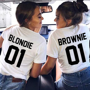Best Friend T shirt Women BLONDIE01 BROWNIE01 Tshirt Cotton Women White Tee Shirt Femme Sister Shirts O-neck Camisas Mujer(China)