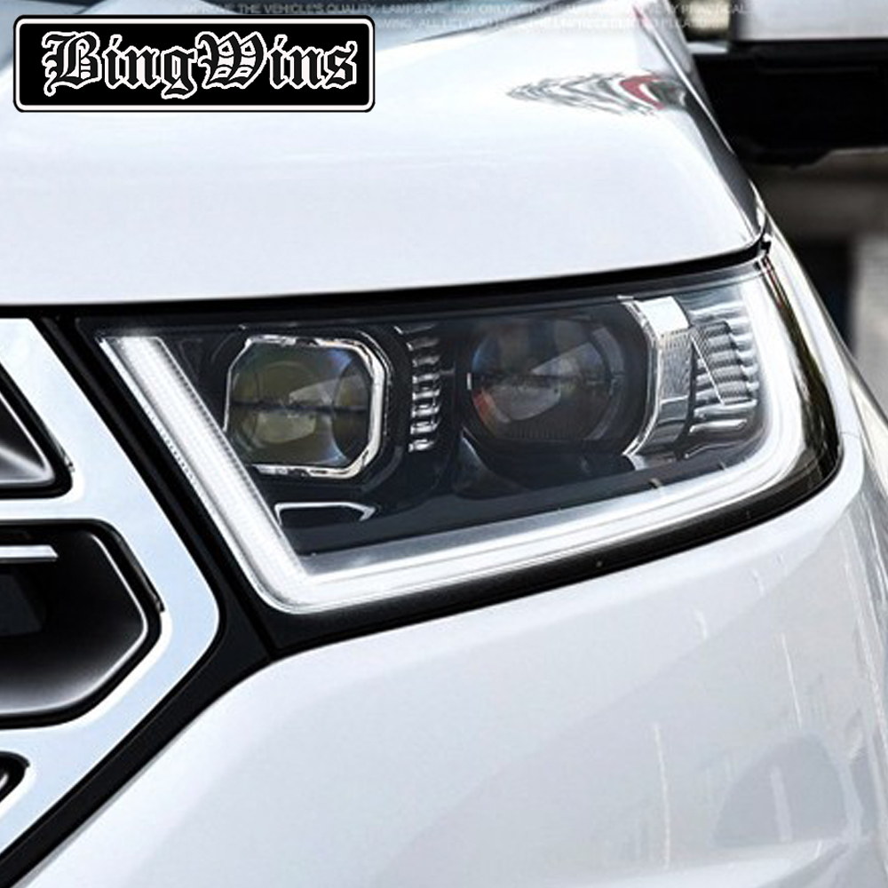 Car Styling Headlights for Ford Edge 2015-2017 for Edge head lamp LED DRL Lens Double Beam H7 HID Xenon bi xenon lens car styling led head lamp for ford kuga led headlights 2014 taiwan escape angel eye drl h7 hid bi xenon lens low beam