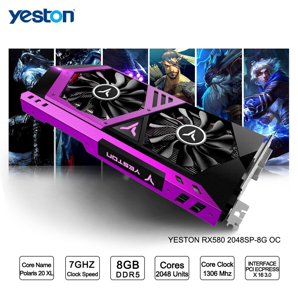 Yeston Radeon RX 580 GPU 8GB GDDR5 256bit Gaming Desktop computer PC Video Graphics Cards support