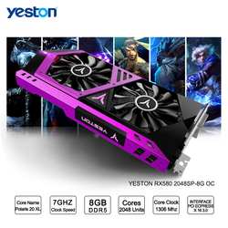 Yeston Radeon RX 580 GPU 8 GB GDDR5 256bit Gioco computer Desktop PC Video Schede Grafiche supporto DVI-D/HDMI PCI-E X16 3.0