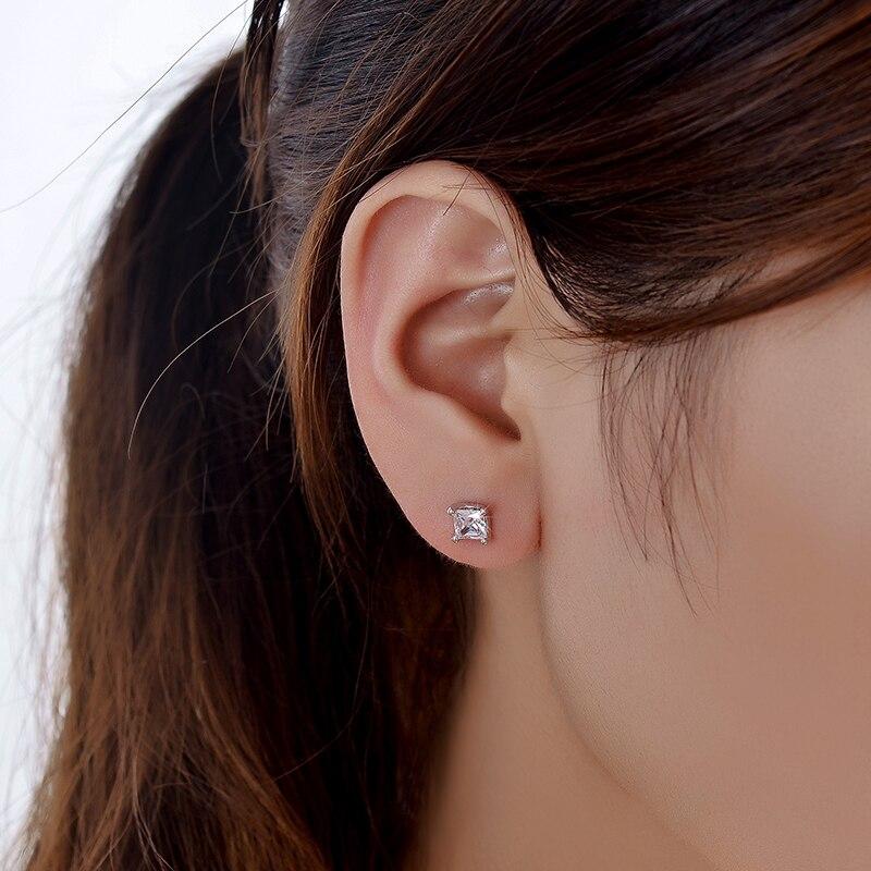 Very NEWBARK Single Princess cut Earrings CZ 6mm 0.63ct Silver Color  UH01