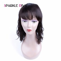 Sparkle Diva 130 Density Lace Front Human Hair Wig For Black Women Natural Wave Non Remy