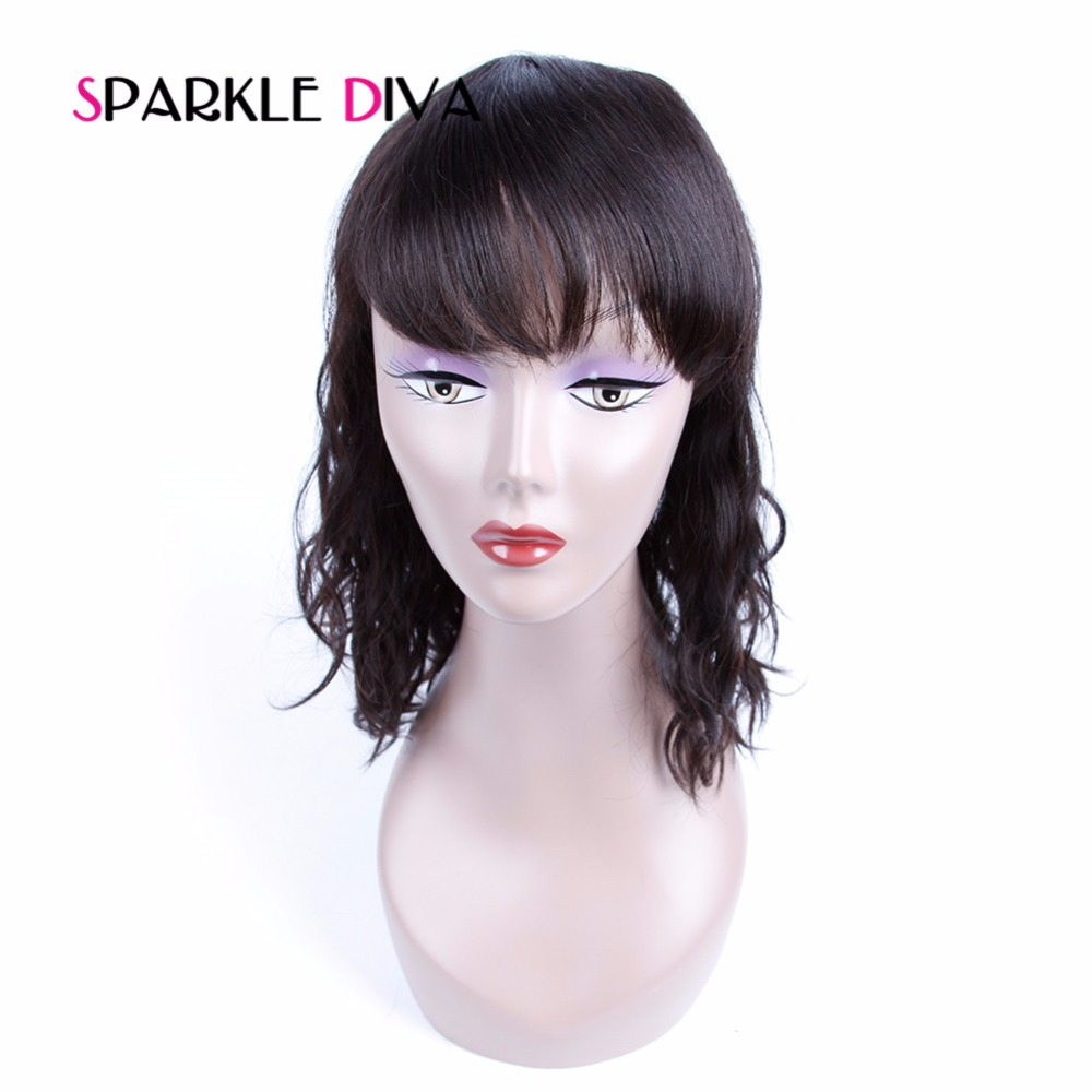 [SPARKLE DIVA HAIR] 150% Density None Lace Human Hair Wigs Natural Wave Brazilian Non Remy Hair Pre Plucked With Bangs Baby Hair
