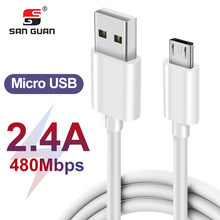 White color cable usb micro usb 1m/3.3ft high quality fast charging 2.4A microusb cable for Huawei OPPO VIVO(China)