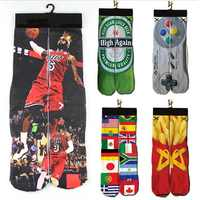2018 NEW Women Men Funny Low Ankle Short Socks Unisex 3d Character Printed Durable Sock Flag/2Pac/Lebron James Printing Socks