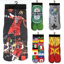 2018 NEW Women Men Funny Low Ankle Short Socks Unisex 3d Character Printed Durable Sock Flag/2Pac/Lebron James Printing Socks