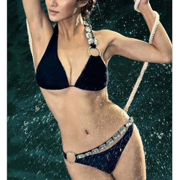 2015 Newest Morden Women Bikinis Set Halter Style Push Up Sexy Swimwear With Glittered Rhinestone Beach Bathingsuit