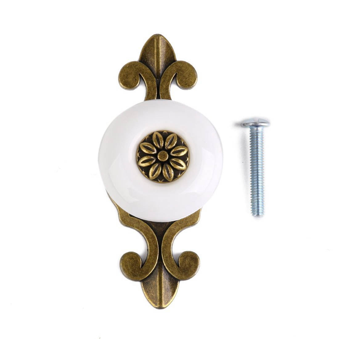 1pc Retro Furniture Drawer Cabinet Wardrobe Ceramic Round Knob Metal Pull Handle (Bronze + White)