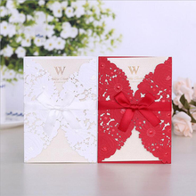 100pcs Red White Laser Cut Wedding Invitations Card Lace Elegant Greeting Cards Cover with Ribbon Party Favor Decoration