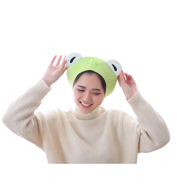Boys Costume Accessories Animal Cap Frog Cosplay Props Accessories Plush Head Halloween Cosplay Party Animal Plush Head Cap Cute Green Hat