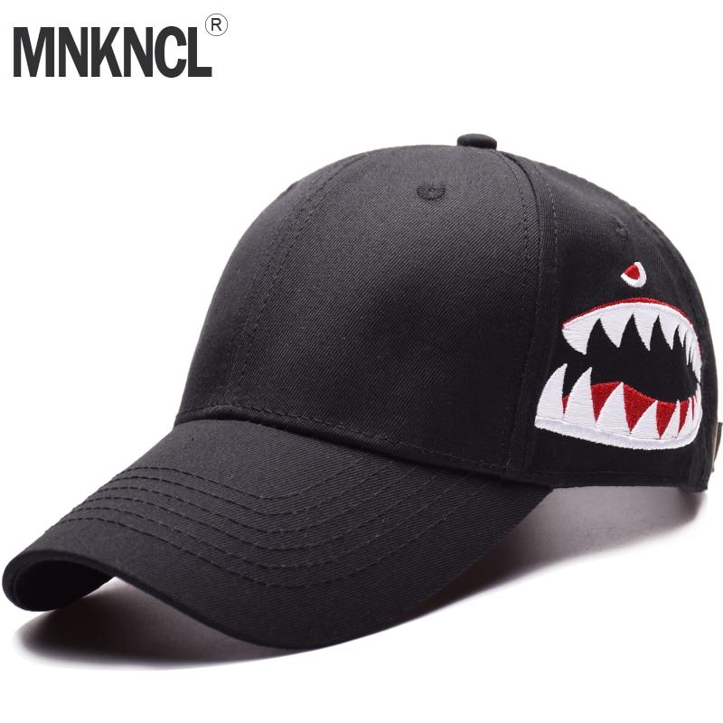 de6ab6945 MNKNCL High Quality Shark Embroidery Baseball Cap Trucker Hat Snapback  Fashion Sports Hats For Men & Women Caps