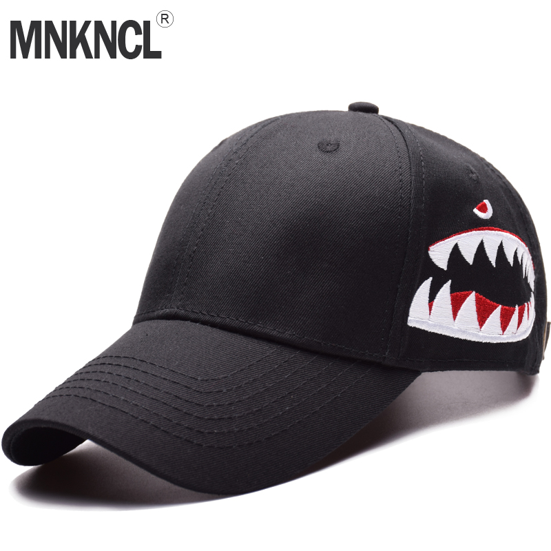 MNKNCL High Quality Shark Embroidery Baseball Cap Trucker Hat Snapback Fashion Sports Hats For Men & Women Caps