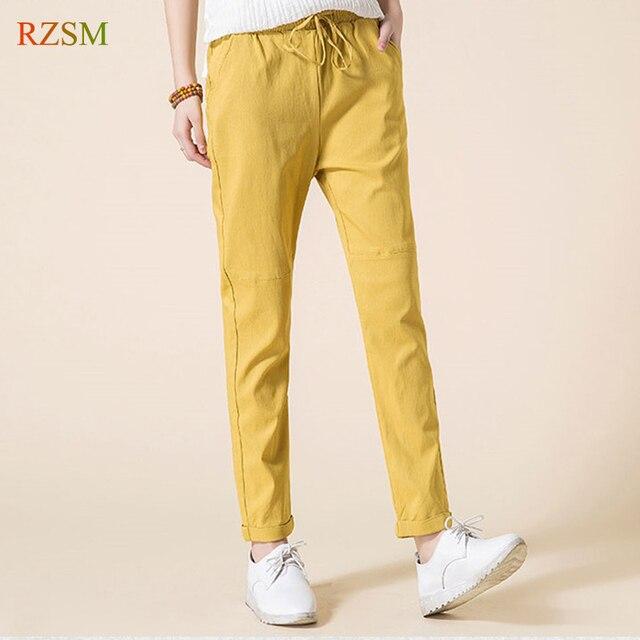 6ab79f16cb6924 2018 Summer New Women Casual Pants Fashion Cotton Linen Pants Elastic Waist  Solid Yellow Harem Pants Trousers Plus Size S-3XL