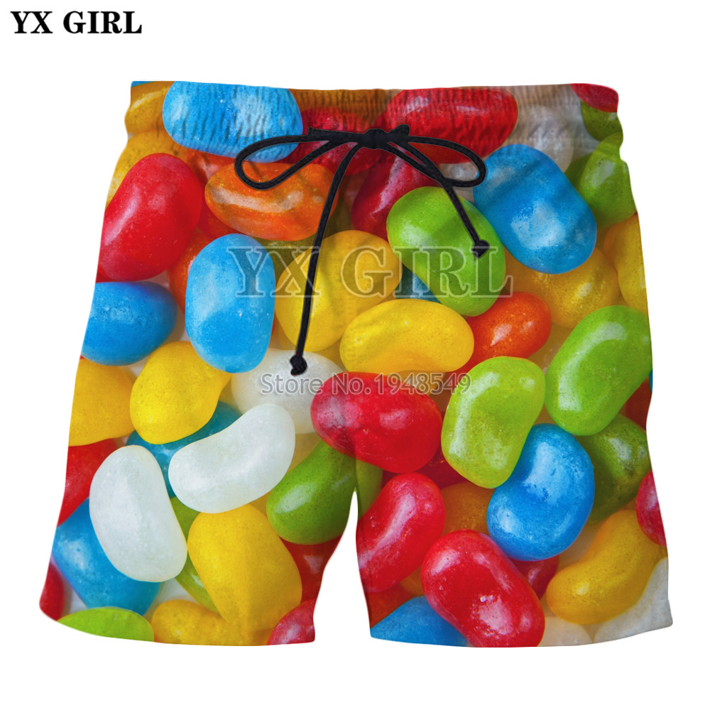 Colorful Jelly Beans Sweet Cocktails Print 3d Casual Men Women Shorts New Varieties Are Introduced One After Another Yx Girl 2018 Summer New Fashion Shorts Food Beer