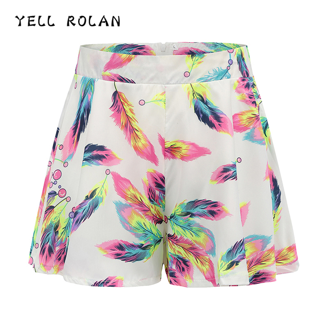 YELL ROLAN Women's Summer Beach Party Shorts 2018 Fashion Floral Print Casual Loose Shorts Girl's Lovely Shorts Female Shorts