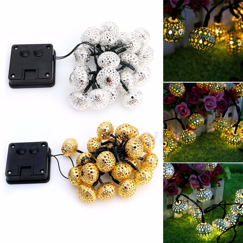 1 Pcs 20 LEDs Solar String Lights Moroccan Ball String Lights Golden Silver For Christmas Holiday Wedding Party Decor Hot Sale блуза silver string silver string si021ewwnp34