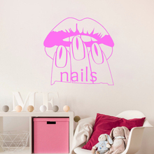 Nail Beauty Salon Girls Wall Decal Fashion Woman Vinyl Manicure Spa Removable Stickers Sexy Lips High Quality Mural SYY326