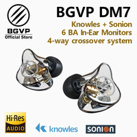 BGVP DM7 6 Banalced Armature 6BA In Ear Hifi Music Monitors Studio Sports Earphone Customize IEM Knowles Sonion Drivers Earbuds