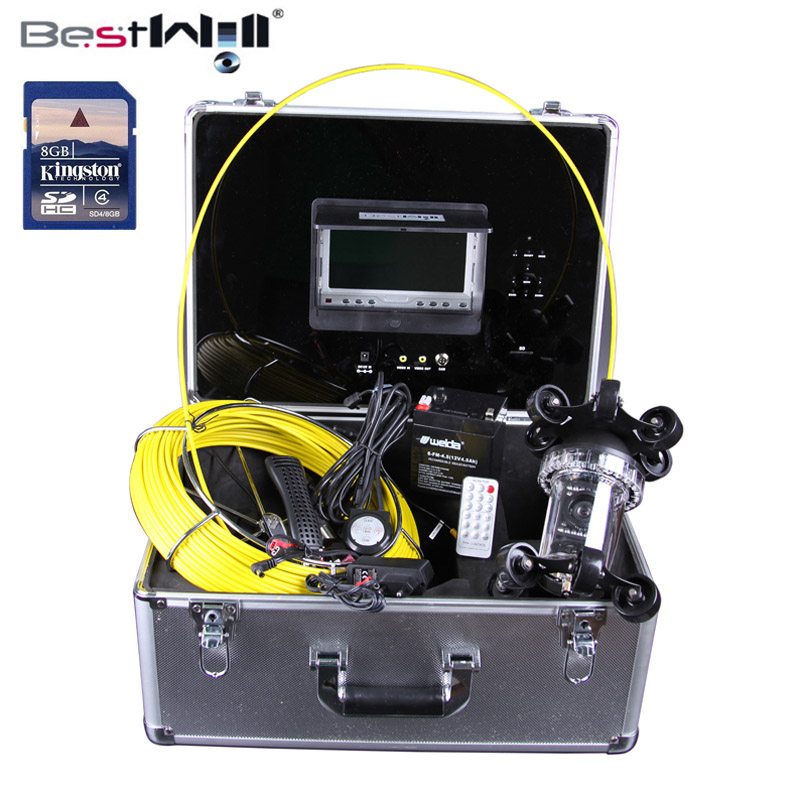 50M 360 degree camera Sewer Pipe Inspection Camera with DVR 600 TVL with 7'' Digital LCD Screen Fiber Glass Cable 1 set 50m cable 360 degree rotative camera with 7inch tft lcd display and hd 1000 tvl line underwater fishing camera system