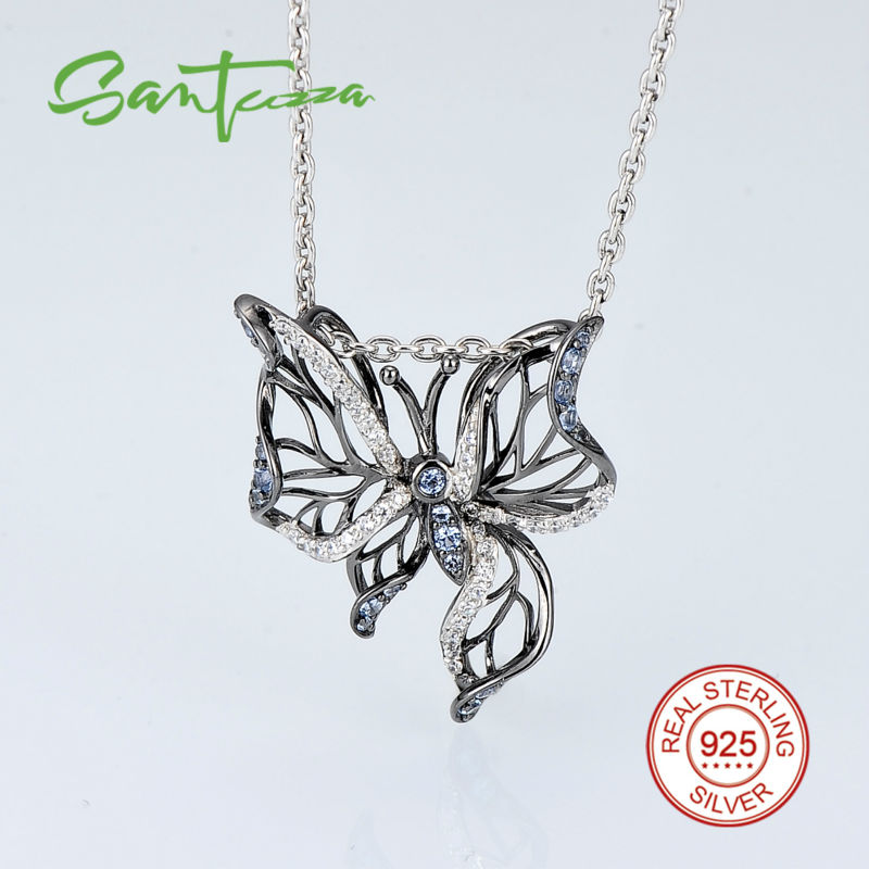 Silver Butterfly Pendant Fit for Necklace For Women Blue Spinels White Cubic Zirconia CZ Pendant 925
